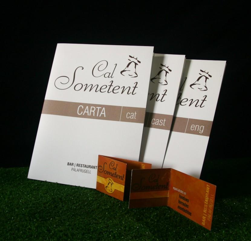 Disseny cartes menú i targetes Cal Sometent Palafrugell (2011)